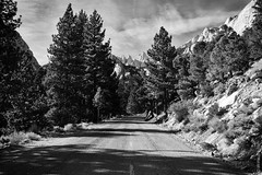 Scenic Road To Mount Whitney, California (thedot_ru) Tags: mount whitney mountains landscape trees grass clouds sky monochrome blackandwhite bw california mountwhitney canon5d 2010 usa unitedstates us america road freeway
