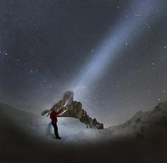 Drawing new stars (Robyn Hooz) Tags: giau stelle dolomiti gusela contemplation montagne blackhole galaxy stars torch pila luce universe alone solitario constellations costellazioni italy