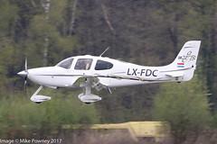 LX-FDC - 2006 build Cirrus SR22 GTS, inbound to Runway 24 at Friedrichshafen during Aero 2017 (egcc) Tags: 1803 aero aerofriedrichshafen aerofriedrichshafen2017 bodensee cirrus cirrusdesign edny elvinger fdh friedrichshafen gts hbkht lxfdc lightroom n610tb sr22 sr22gts