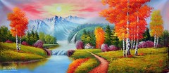 Northern Kiss Of Dusk, Art Painting / Oil Painting For Sale - Arteet™ (arteetgallery) Tags: arteet oil paintings canvas art artwork fine arts waterfall landscape water river tree forest park rock stone environment lake summer travel outdoor mountain tourism natural trees rocks scenery outdoors sky scenic spring reflection grass stream ecology season fall serene pond wood mountains tranquil wild leaf cascade falls autumn sunny rocky stones waterfalls peaceful scene national sunlight november landscapes surreal fantasy lakes rivers red lime paint