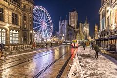 Vista-nocturna-de-Gante (Fotoencuadre Miguel Alvarez) Tags: gante flandes belgica vistanocturna medieval noria castillo noche