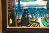 """Detail mit der schwarzen Katze aus dem Gemälde """"Frankfurter Hauptbahnhof"""" von Max Beckmann, 1943 (S. Ruehlow) Tags: museum städelmuseum städel museumsufer schaumainkai frankfurt sachsenhausen beckmann maxbeckmann gemälde katze hauptbahnhof hbf frankfurterhauptbahnhof"""