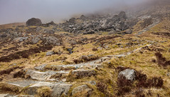 Path into the Mist (kieran_metcalfe) Tags: grass devilskitchen snowdonia landscape idwal mist canon hill boulders rocks stones countryside pathway climb 80d stone boulder cloud hills mountain sky fog heather path wales valley