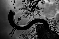 tree top observatree (p.g604) Tags: 20180330imgp0053edit2 tree top observatory lincolnshire bw blackwhite monochrome s curve clouds overcast tower bricks pentax k1 ladder stainless steel metal silhouette shadows branches trees winter uk england