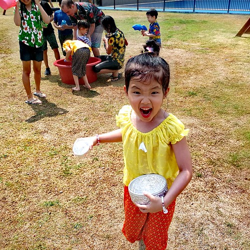 Songkran festivities, students and teachers enjoying end of term Songkran celebrations at SISB international school in Chiang Mai, Northern Thailand