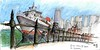 Queen Mary II Sydney Harbour (panda1.grafix) Tags: queenmaryii sydneyharbour circularquay seascape inkandpencil landscape sketch