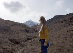 Charlotte (fraser_west) Tags: actor wales film 120 yellow pentax model youth nature mountains
