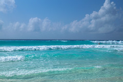 Caribbean blue (Vladimir Zhdanov) Tags: travel mexico sky cloud landscape sea water wave beach people cancun yucatan
