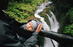 hiking with henry, part three (manyfires) Tags: film analog henry boy son family love baby toddler outdoors hike hiking pnw pacificnorthwest nikonf100 35mm landscape sleeping olympicpeninsula olympicnationalpark solducfalls bridge waterfall michael dad father onya