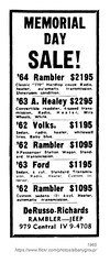 1965 DeRusso Richards Memorial Day Sale (albany group archive) Tags: albany ny history 1965 derusso richards memorial day sale rambler jeep car dealer automotive central avenue