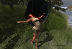 Glorying in April Showers (cejalaval) Tags: secondlife sl style scenic shadows slfashionblogger slphotography slfashion slshopping tonic tattoo trees rain redhead reign exile mesh maxigossamer sb 7deadlyskins tagus avatar blog bento fashion firestorm fashionblogger fashionblogging fashionblog umbrella curvy laq pose