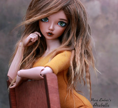 Wild child (pure_embers) Tags: pure embers laura england tan resin bjd msd doll dolls fairyland minifee chloe uk girl minifeechloe pureembers embersarabella arabella photography photo ball joint brown alpaca hair youpla mustard yellow top wild portrait