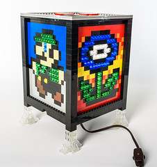 Bedazzled Mosaic LEGO Sprite Lamp Cube (Baron Julius von Brunk) Tags: lego mario electronic lamp sprite videogames nintendo nes brunk mosaic moc