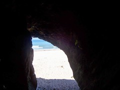 View from inside a cave, Lossiemouth Beach, Lossiemouth, May 2018 (allanmaciver) Tags: inside out cave lossiemouth beach moray coast sand sea white black interior safe secure massive thick surroundings allanmaciver