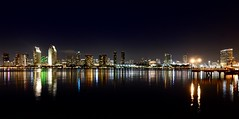 Downtown San Diego from Coronado (Craig Stevens <castevens12>) Tags: skyscraper skyscrapers cityscape city buildings skyline sandiego sandiegobay sandiegocalifornia socal southerncalifornia reflections nighttime night nightshot nightscape evening dark lights litup downtown coronado