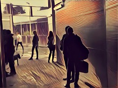 People in the Underground Station Waiting for the Rain to Stop (GS Digital Art) Tags: life people digitalart underground station prismaapp dailylife prisma appprisma