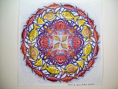Fish Crab Mandela (Lynne M. B.) Tags: coloringadults coloring coloringbook coloredpencils drawing art illustration prismacolor tombow fabercastellpolychromos