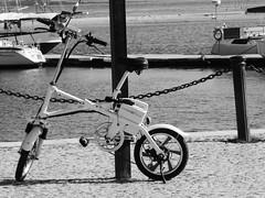 Parked (cyclingshepherd) Tags: 2018 europe europa portugal algarve olhao olhão bike bicycle bicicleta bicicletta rad fahrrad fiets folder white parked electric folding monochrome blackandwhite bw waterfront suspension cross fold pedelec moped wheels 16 16inch fence chain bollard