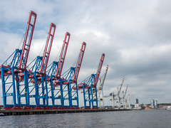 LR Hamburg 2018-5190373 (hunbille) Tags: birgittehamburg2018lr hamburg germany harbour elbe river five shipyard ship yard crane