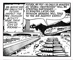 Buck Rogers News Paper Strip Rocket Port 3302 (Brechtbug) Tags: buck rogers news paper strip logos science fiction space rocket ship robot comic famous funnies 40s 1940s 1948 newspaper art by murphy anderson murph jet port jetpack rocketpack flying belt comics dr huer doctor scientist