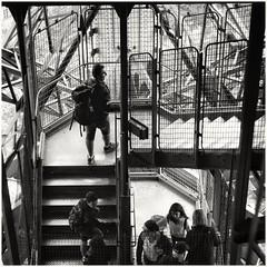 Ascending! (zapperthesnapper) Tags: blackandwhite monochrome monochromatic mono paris france eiffeltower toureiffel staircase stairs