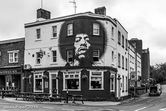 The Bridge Inn, Bristol (PapaPiper) Tags: unitedkingdom uk england bristol architecture streetscene streetart jimmyhendrix monochrome bw blackwhite