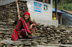 Your exotic is my normal (sakthi vinodhini) Tags: nepal village old lady sherpa abc annapurna backpack trek traditional costume