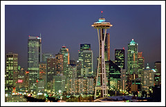 Seatle and the Space Needle From Kerry Park - 1992 (sjb4photos) Tags: washington seattle seattlespaceneedle kerrypark night