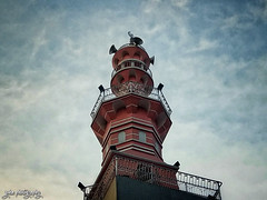 Beacon of Faith (shamahzoha) Tags: minaret architecture tower beauty beautiful islam islamic pink red design vibrant sky clouds blue floating white naturallights mobilephotography streetphotography bangladesh beautifulbangladesh geometry shapes shades landscape 7dwf
