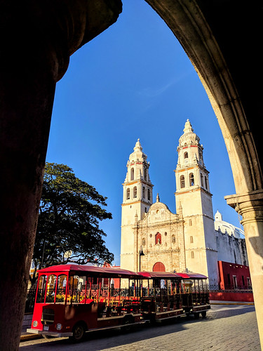 Campeche cathedral and trolley