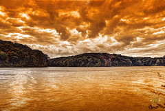 The End of Days (SteveFrazierPhotography.com) Tags: lakeargyle argylestatepark water waves shore shoreline color leaves foliage autumn clouds cloudy sunset evening fall seasons trees landscape waterscape hills hillside woods woodlands northamerica colchester mcdonoughcounty illinois unitedstates america usa stevefrazierphotography