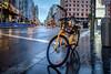 yellow bike (danilob1) Tags: danilobruschi madrid spain bike bluehour city colors light perspective rain reflection street urban