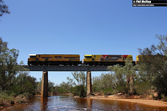 25 January 2018 P2515 P2517 P2506 5720 empty ore Greenough River Eradu (RailWA) Tags: railwa philmelling aurizon geraldton midwest p2515 p2517 p2506 5720 empty ore greenough river eradu