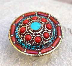 Big Healing Stone Ring Turquoise Coral Nepali Tibetan Silver Jewelry Ethnic Boho (CraftEast) Tags: vintage jewelry jewellery tribal ethnic gothic antique turkmen bohemian gypsy festival stone etsy boho hippie hippy handmade tuareg belly dance turquoise coral tibetan tibet nepali nepal nepalese chakra