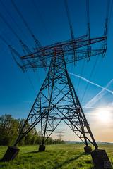 electrical tower (MAICN) Tags: overheadtransmissionline sunrise landschaft himmel grasland strommast acker technisch bäume gras wiese 2018 electricaltower landscape stromtrasse sky technical sonnenaufgang