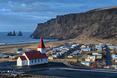 Vík (geraintparry) Tags: iceland vik church village south vík mýrdal myrdal reynisfjall rocks rock landscape sea coast beach cliff cliffs water ocean