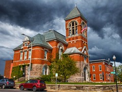 Plattsburgh  New York - Clinton County Courthouse Complex  - Historic (Onasill ~ Bill Badzo) Tags: sky clouds plattsburgh newyork ny clintoncounty courthouse complex nrhp historic historical onasil landmark eos cannon rebel sl1 sigma macro 18250mm architecture style romanesque red brick 1535 margaret st street cloud unitedstates richardsonian building tower roof town seat dark hdr lakeplacid saranaclake trip vacation region