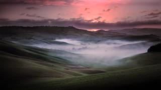 The fog at dawn.