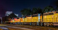 south city union pacific (pbo31) Tags: bayarea california nikon d810 color april 2018 spring boury pbo31 southsanfrancisco sanmateocounty night black dark engine unionpacific freight train station track rail yellow