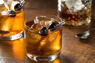 Boozy Manhattan Cocktail on the Rocks