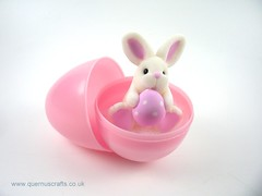 Little Easter Egg Bunny in Egg (Quernus Crafts) Tags: easter bunny happyeaster polymerclay quernuscrafts cute easteregg egg pink