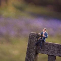 It's that man again (hehaden (away for a week or so)) Tags: model figurine resin man sitting reading bench garden bordehill haywardshill sussex square