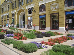 flowers in Pecs (VERUSHKA4) Tags: canon europe hungary travel pecs town ville cityscape flora flower fleur window people shop colourful lamp farole flaf building facade decor architecture summer july day sunny door outdoor verdure red green white purple iron object metallic detail astoundingimage