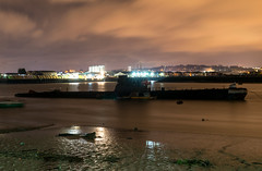 Sub by night (d0mokun) Tags: submarine foxtrot russian navy warship river medway chatham kent night time nighttime long exposure reflections boats ships dramatic clouds