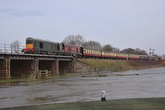 20007 & 20142 approach Wansford Station, over the flooded River Nene, with the 11.46 return service from Peterborough (NVR). Nene Valley Railway Diesel Gala. 06 04 2018 (pnb511) Tags: nenevalleyrailway heritage trains preserved wansford loco locomotive train railway engine engines diesel diesels locos locomotives bridge water river flood flooded class20