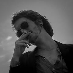 Asher (Splatito8127) Tags: chesthair beard earrings blackandwhite mountains sunglasses smoker smoking sexy portrait model guy boy