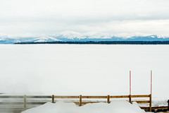 Yellowstone NP Trip - Day 4 (9) (tommaync) Tags: yellowstone yellowstonenationalpark yellowstonenp park national february 2018 wyoming nikon d7500 ynp gaa30thanniversary nature westthumb thermal yellowstonelake lake water frozen ice snow railing fence mountains
