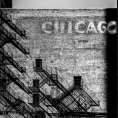 Chicago (mathieuo1) Tags: chicago usa art composition bnw blackandwhite black dark lines rails floor shadow straight abstract street strong strengh structure construction urban artistic fineart explore travel america scale ladders diagonal paint mood dirt rules work discover instinct door wall triangle symetry play stage midday artofchi district light dlsr monochrome nikon zoom mathieuo