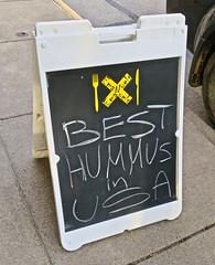 Best Hummus in USA, Marietta, OH (Robby Virus) Tags: oh ohio marietta emanuals restaurant bakery sidewalk cement concrete aboard sign best hummus usa signage
