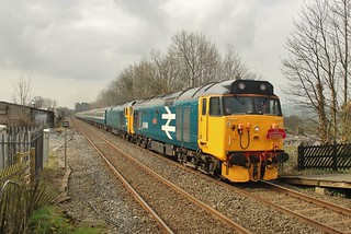 Class 50s Nos. 50049 & 50007 pass Settle - 'The Cumbrian Hoovers' Rail Tour - 14th April 2018.